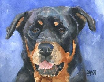 Rottweiler Art Print of Original Watercolor Painting - 11x14 Dog Art