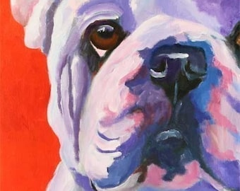 Bulldog Art print of Original Acrylic Painting - 11x14