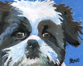 Shih Tzu Dog Art Print of Original Acrylic Painting - 11x14