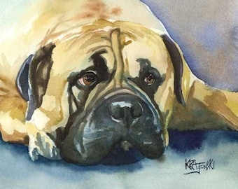 Bullmastiff Art Print of Original Watercolor Painting - 8x10 Dog Art