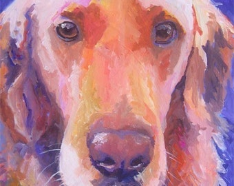 Golden Retriever Art Print of Original Oil Painting - 8x10