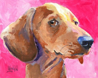Dachshund Art Print of Original Acrylic Painting - 11x14 Dog Art