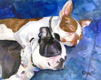 Boston Terrier Dog Art Signed Print by Ron Krajewski