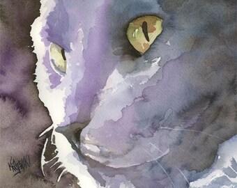 Russian Blue Cat Art Print of Original Watercolor Painting 11x14