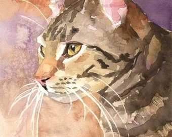 Tabby Cat Art Print of Original Watercolor Painting - 11x14 Cat Art