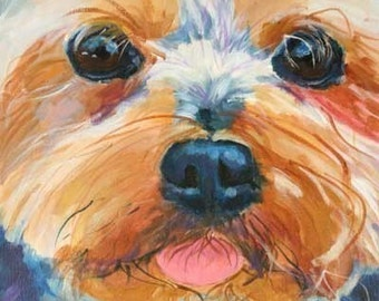 Yorkshire Terrier Art Print of Original Acrylic Painting - 8x10 Yorkie