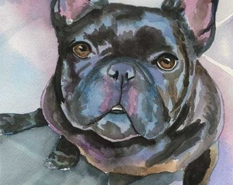 French Bulldog Art Print of Original Watercolor Painting - 11x14