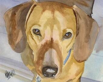 Dachshund Art Print of Original Watercolor Painting - 11x14 Dog Art
