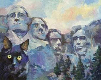 Black Cat at Mt. Rushmore Print of Original Acrylic Painting - 8x10