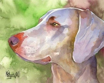 Weimaraner Art Print of Original Watercolor Painting - 11x14