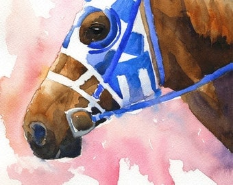 Secretariat Art Print of Original Watercolor Painting - 11x14