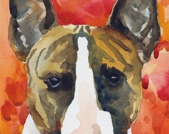"Bull Terrier Art Print of Original Watercolor Painting 11x14"" Dog Art"