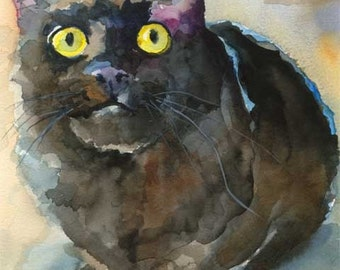 Black Cat Art Print of Original Watercolor Painting 8x10 Signed by Artist