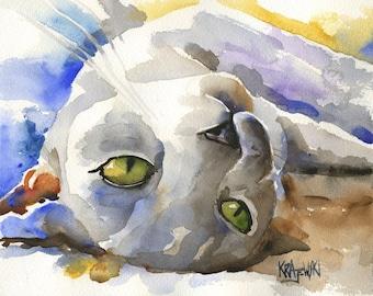 Burmese Cat Art Print of Original Watercolor Painting - 11x14