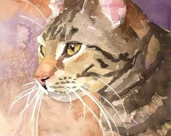Tabby Cat Art Print of Original Watercolor Painting - 8x10
