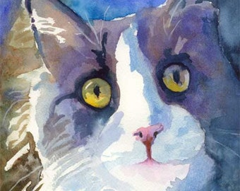 Gray Tuxedo Cat Art Print of Original Watercolor Painting - 8x10