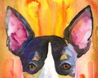 Rat Terrier Art Print of Original Watercolor Painting 8x10