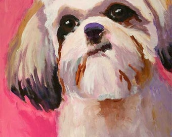 Shih Tzu Art Print of Original Acrylic Painting - 8x10 Dog Art