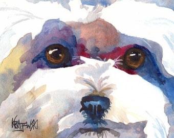 Bichon Frise Art Print of Original Watercolor Painting 8x10