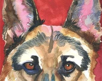 German Shepherd Art Print of Original Watercolor Painting - 11x14