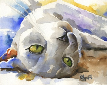 Burmese Cat Art Print of Original Watercolor Painting - 8x10