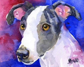 Whippet Dog Art Print of Original Watercolor Painting 8x10