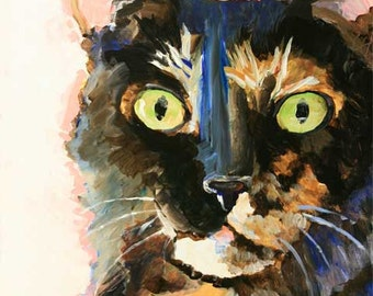 Tortie Cat Art Print of Original Acrylic Painting - 8x10