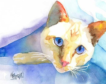 Siamese Cat Art Print of Original Watercolor Painting - 8x10
