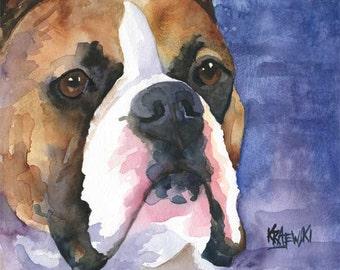 Boxer Art Print of Original Watercolor Painting - 8x10