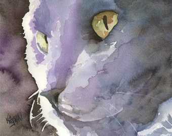 Russian Blue Cat Art Print of Original Watercolor Painting 8x10
