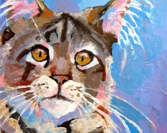 Maine Coon Cat Art Print of Original Acrylic Painting 8x10