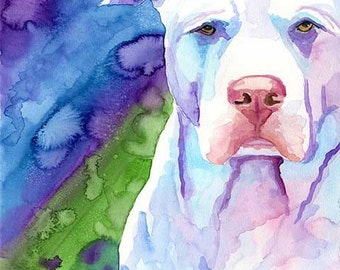 Pit Bull Art Print of Original Watercolor Painting - 8x10 Pitbull Dog Art