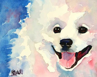 American Eskimo Dog Art Print of Original Watercolor Painting
