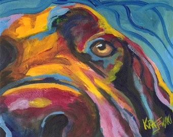 Labrador Retriever Art Print of Original Acrylic Painting - 8x10 Chocolate Lab