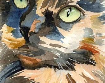 Calico Cat Art Print of Original Watercolor Painting 8x10