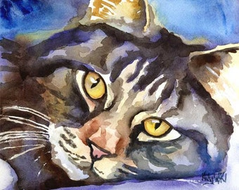 Norwegian Forest Cat Art Print of Original Watercolor Painting 8x10