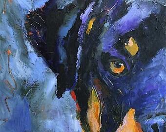 Rottweiler Art Print of Original Acrylic Painting 11x14