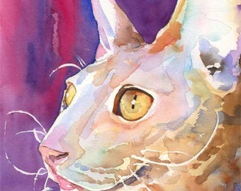 Cornish Rex Cat Art Print of Original Watercolor Painting 8x10