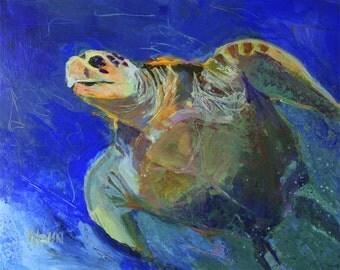 Sea Turtle Art Print of Original Acrylic Painting - 11x14