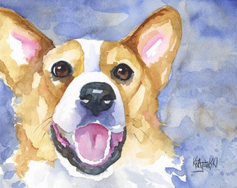 Welsh Corgi Dog Art Print of Original Watercolor Painting 8x10