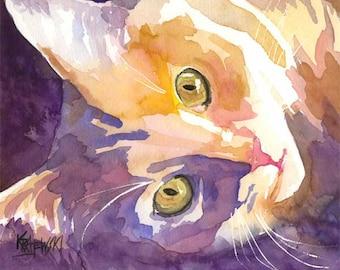Long Haired Cat Art Print of Original Watercolor Painting 8x10