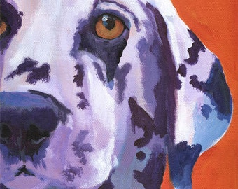 Dalmatian Art Print - from original acrylic painting -  8x10 signed by artist - dog art red