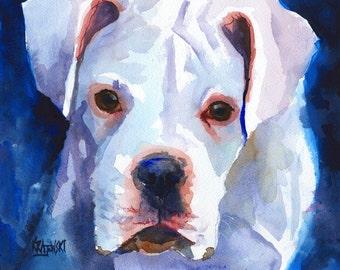 White Boxer Art Print of Original Watercolor Painting - 8x10