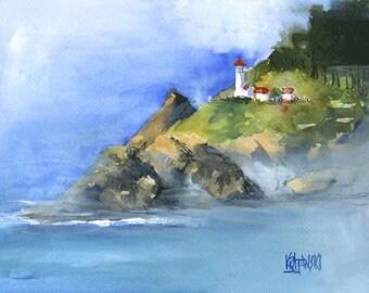 Heceta Head Lighthouse Art Print of Original Watercolor Painting 11x14