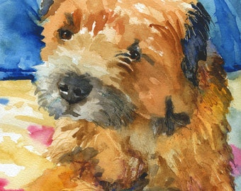 Border Terrier Art Print of Original Watercolor Painting 11x14
