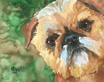 Brussels Griffon Art Print of Original Watercolor Painting 11x14