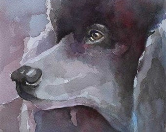 Poodle Art Print of Original Watercolor Painting - 11x14