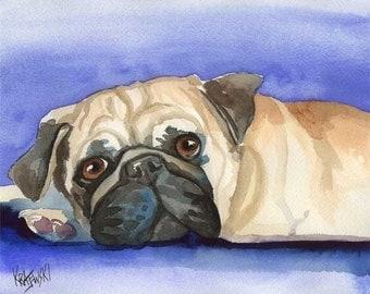 Pug Art Print of Original Watercolor Painting - 11x14 Dog Art