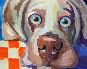Weimaraner Art Print of Original Acrylic Painting - 11x14