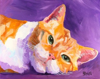 Tabby Cat Art Print of Original Acrylic Painting - 11x14 Cat Art